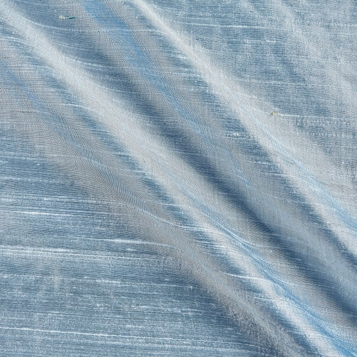 Dupioni Silk Fabric Iridescent Blue Ice