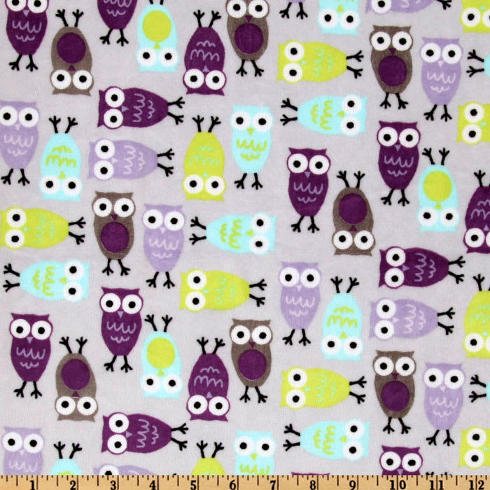 Shannon Robert Kaufman Minky Cuddle Night Owls Saltwater/Viole