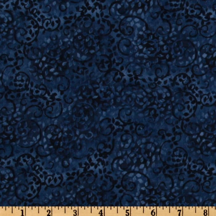 108'' Complementary Leafy Scroll Quilt Backing Blue