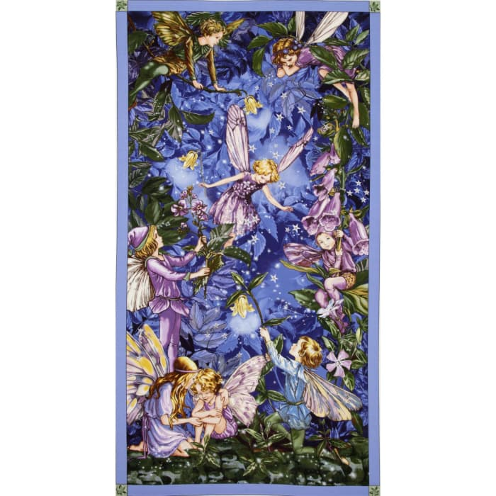 Michael Miller Night Flower Fairies Panel Nite Blue