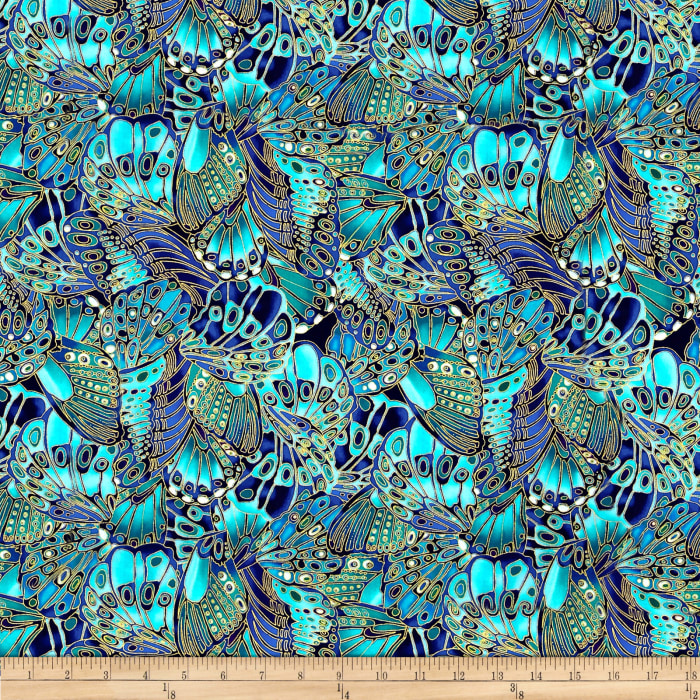 Timeless Treasures Shimmer Packed Butterflies Turquoise