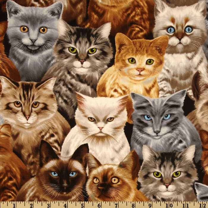 Timeless Treasures Packed Cats Natural