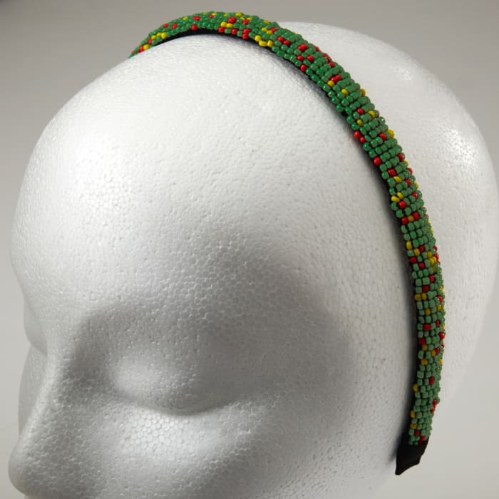 1/2'' Seed Bead Headband Lime/Multi