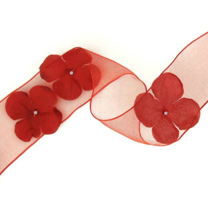 1 1/2'' Wired Organza Ribbon 3D Flowers Red