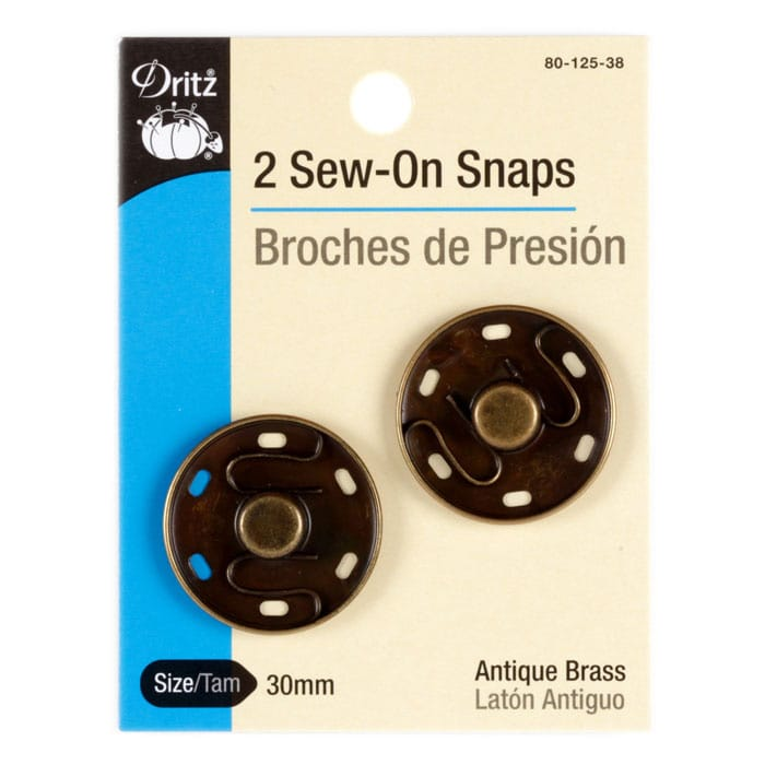 Dritz Sew On Snaps 30mm Antique Brass 2 Pack