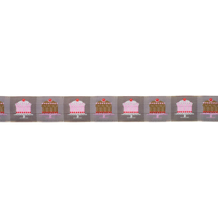 1 1/8'' Ribbon Tiny Cakes Taupe/Pink