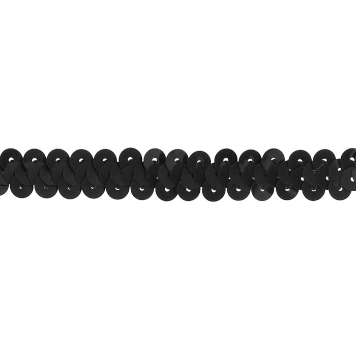 "3/8"" Stretch Metallic Sequin Trim Black"