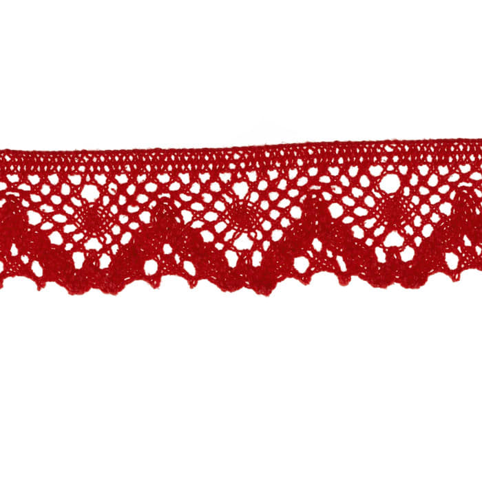 """Riley Blake Sew Together 1 1/4"""" Crocheted Lace Trim Red"""