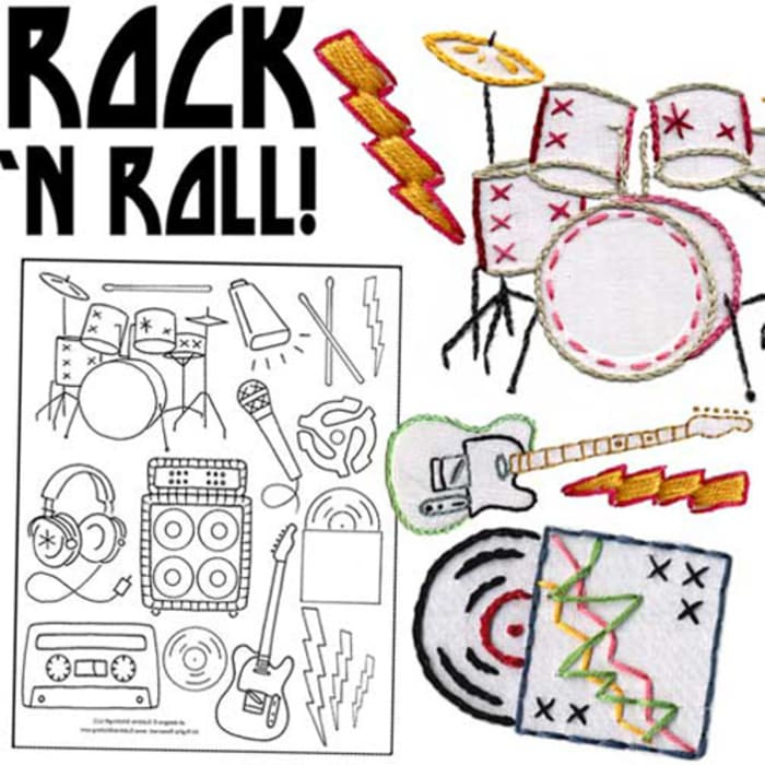 Sublime Stitching Rock & Roll Embroidery Transfer