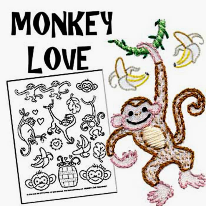 Sublime Stitching Monkey Love Embroidery Transfer