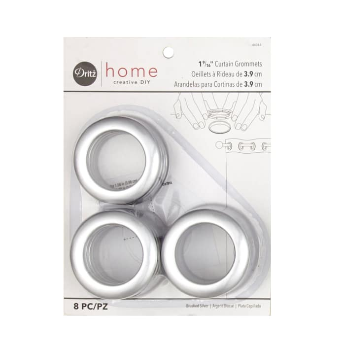Curtain Grommets 8 Pack Brushed Silver 1 - 9/16''