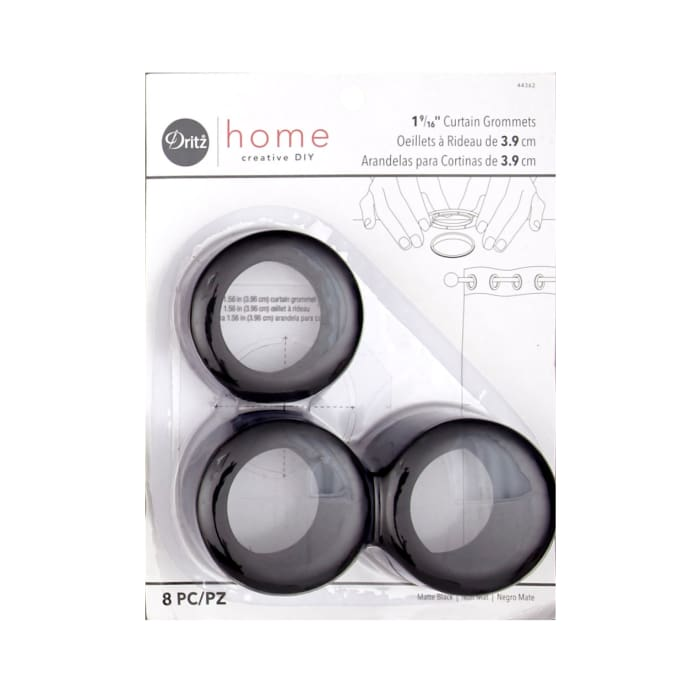 Curtain Grommets 8 Pack Matte Black 1 - 9/16''
