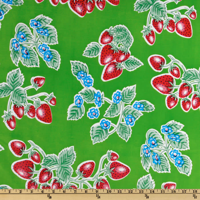 Oilcloth Strawberries Green