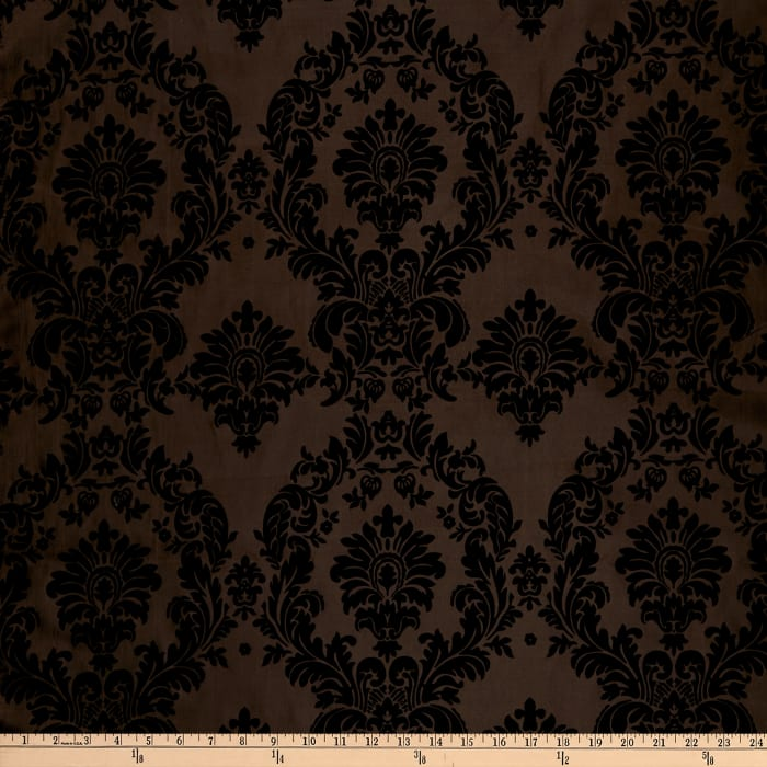 Flocked Damask Taffeta Brown