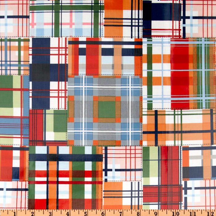 Michael Miller Laminated Cotton Patchwork Plaid Multi