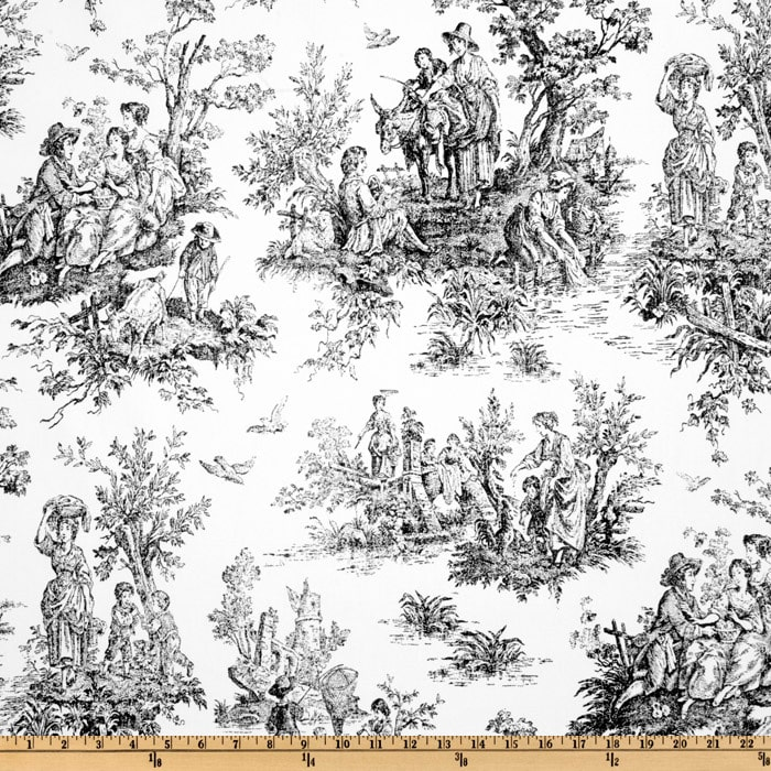premier prints colonial toile black white discount designer fabric. Black Bedroom Furniture Sets. Home Design Ideas